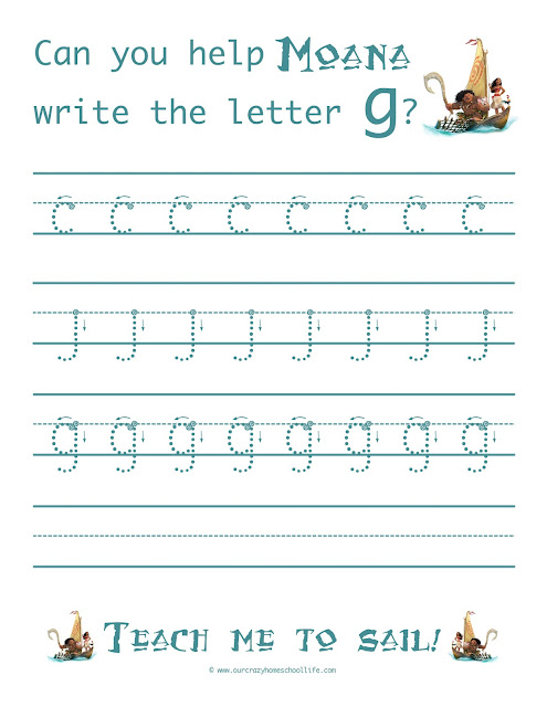 weekly free moana handwriting worksheets release the letter g our crazy homeschool life. Black Bedroom Furniture Sets. Home Design Ideas