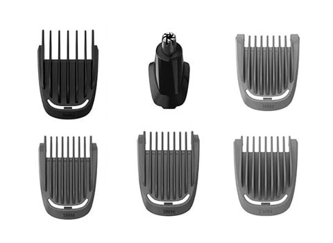 Combs of different length for beard, hair, and nose and ear.