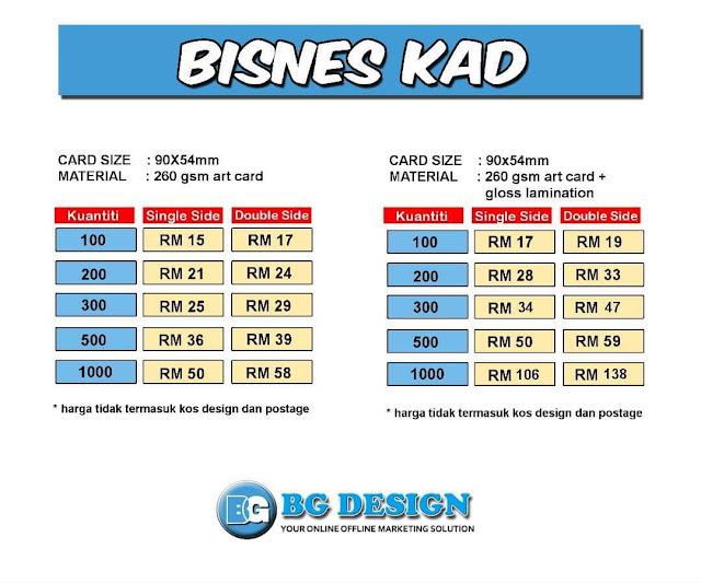 Cetak Business Card Murah dengan BG Design