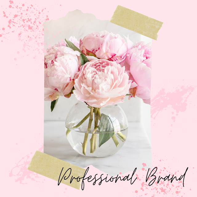 Professional Brand Collage with Pink Peonies