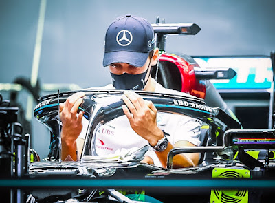 George Russell in Mercedes