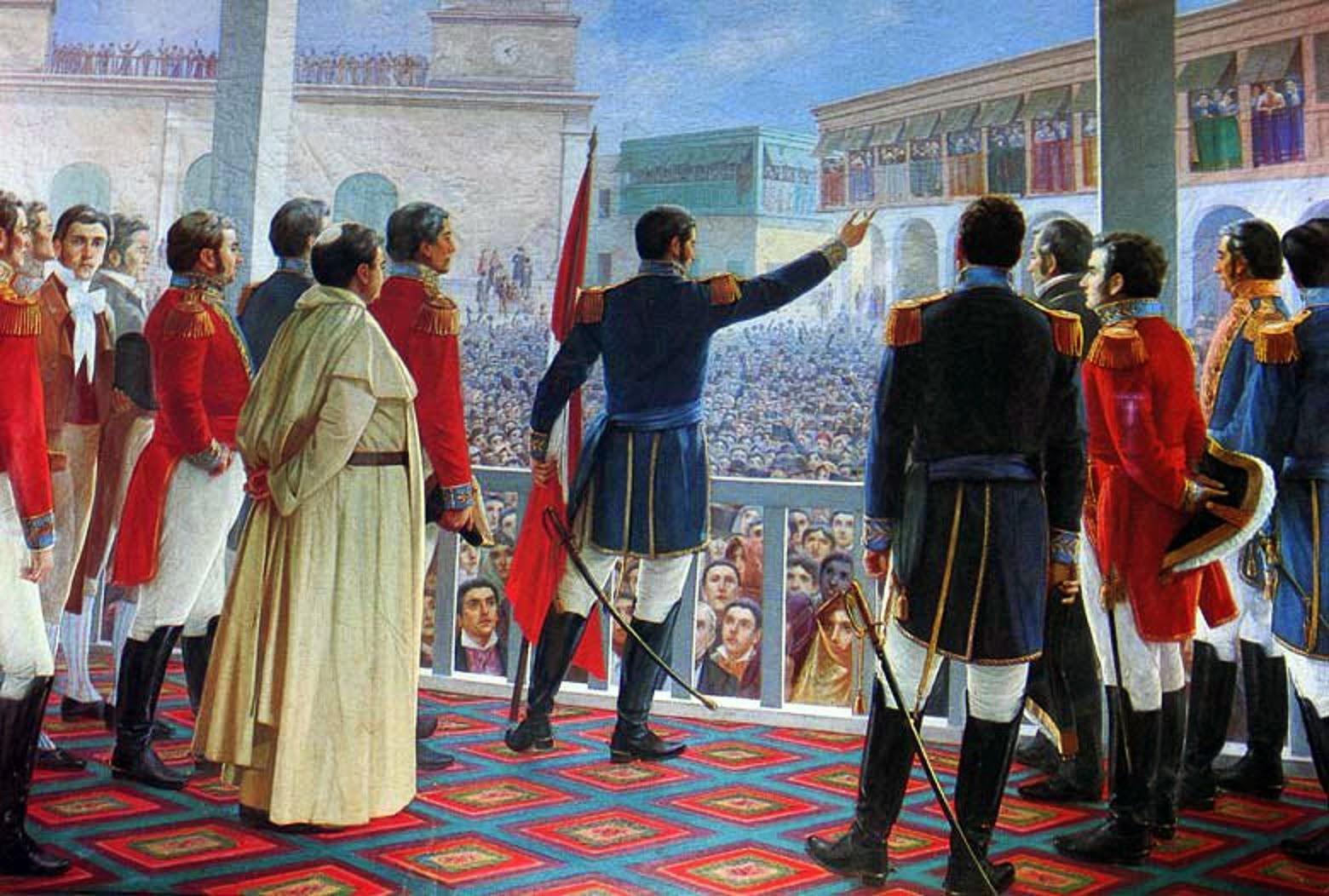 San Martín proclama la independencia del Perú en 1821.