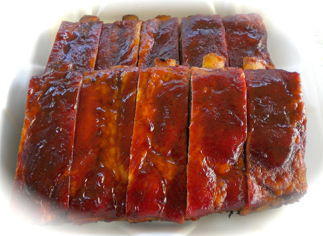 Oven barbecued pork ribs