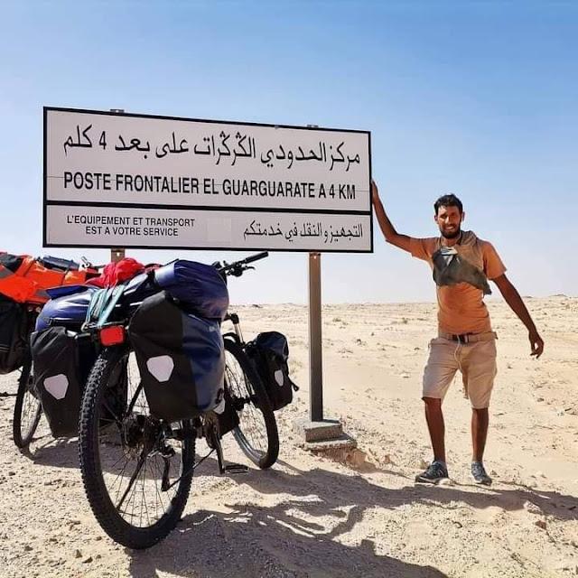 شاهد  لحظة وصول مغاربة إلى معبر الكركرات عبر دراجات هوائية.. فيديو