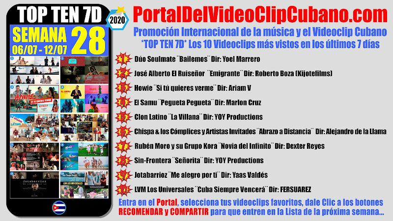 Artistas ganadores del * TOP TEN 7D * con los 10 Videoclips más vistos en la semana 28 (06/07 a 12/07 de 2020) en el Portal Del Vídeo Clip Cubano