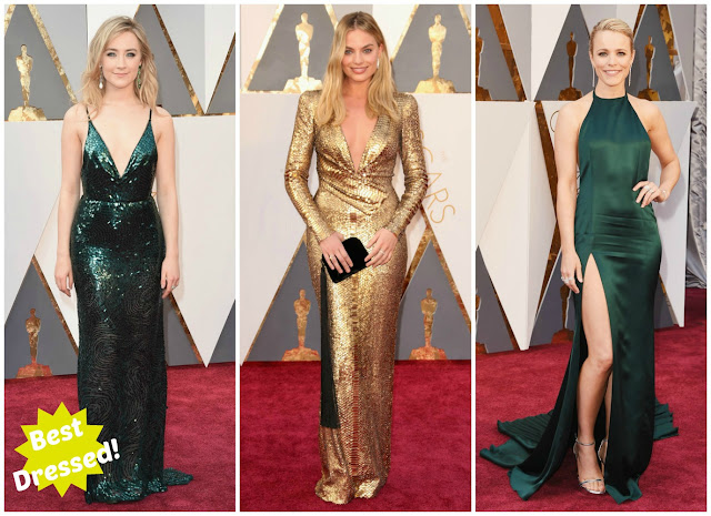 saoirse Ronan, Margot Robbie, Rachel McAdams, 2016 oscars, academy awards, red carpet, jewel tones