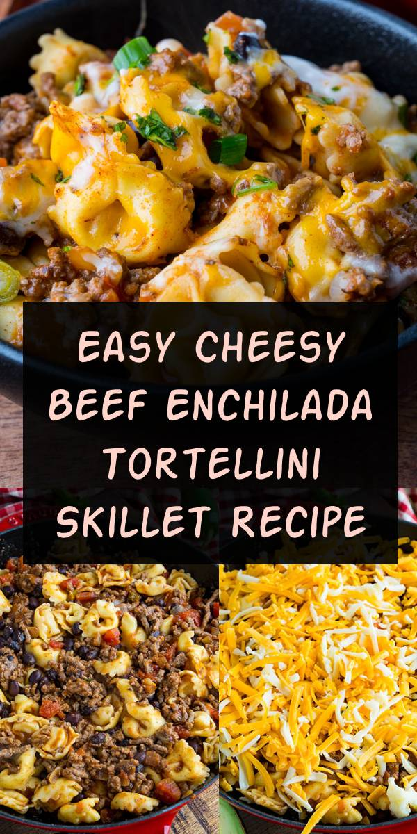 A quick, easy and tasty beef enchilada skillet covered in melted cheese! #beef #enchilada #skillet #dinner