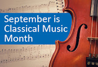 "The words ""September is Classical Music Month"" next to a string instrument."