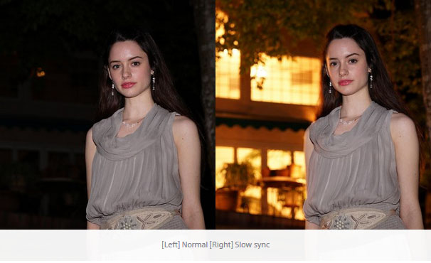 Example of two images showing the comparison between normal sync camera flash on the left with slow sync camera flash on the right