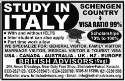 Study In italy   Study Visa Are available  for Pakistami Studenys