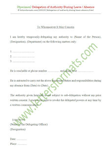 delegate responsibilities for the period of your absence letter