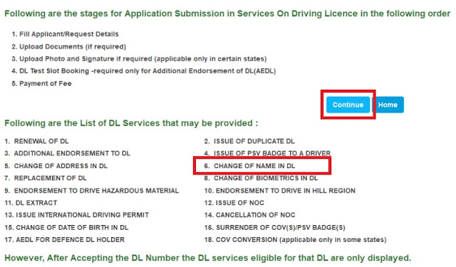 change of Name in driving license