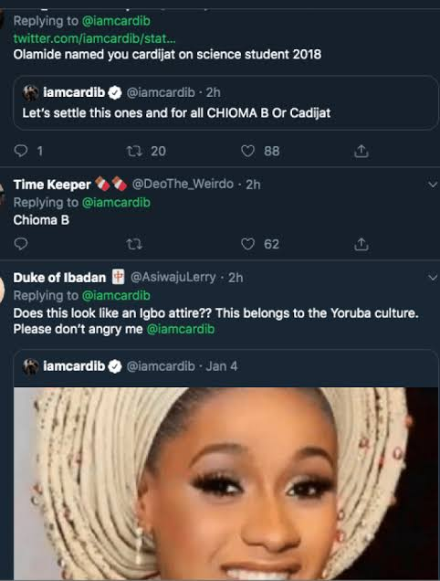 Chioma B or Cadijat? – Cardi B asks Nigerians to pick a name that best suits her ahead of her relocation move