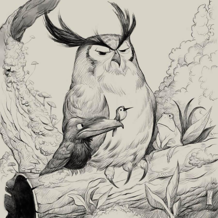 06-The-owl-imparting-wisdom-Dave-Mottram-www-designstack-co