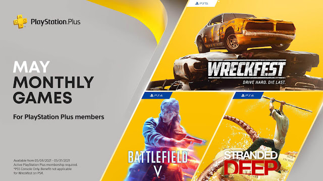 playstation plus battlefield 5 stranded deep wreckfest game ps4 plus ps5 sony interactive entertainment first-person shooter open-world survival adventure banger racing demolition derby bugbear entertainment thq nordic beam team games ea dice electronic arts