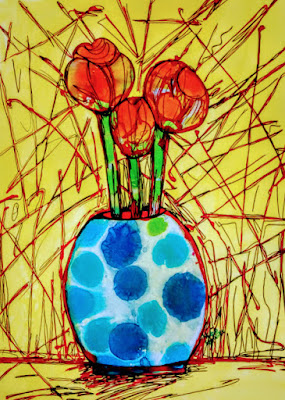 Abstract Red Bulb flower by Miabo Enyadike