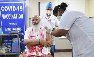 Narendra Modi on Monday took the first dose of COVID-19 vaccination