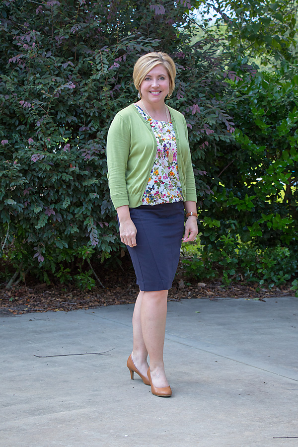navy pencil skirt outfit, cardigan work outfit, womens office outfit