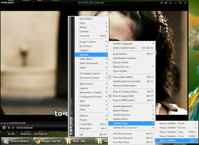 Sync Subtitles of Movies in KMPlayer | netbraintricks