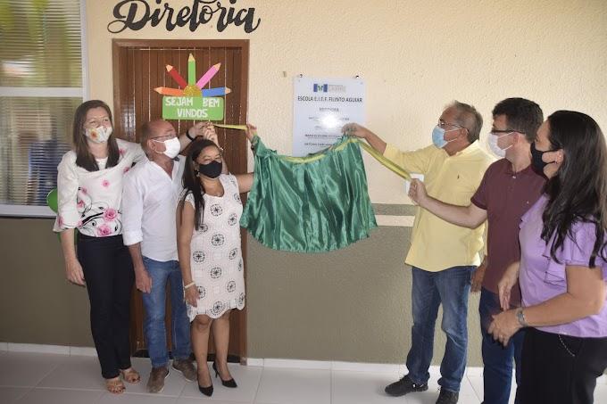 Solenidade de inauguração da reforma e ampliação da Escola Filinto Aguiar de Arariús-Cariré