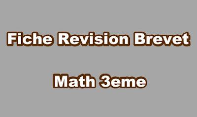 Fiche Revision Brevet Math 3eme