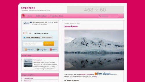 simple pink love blogger template and ads ready template and effective design