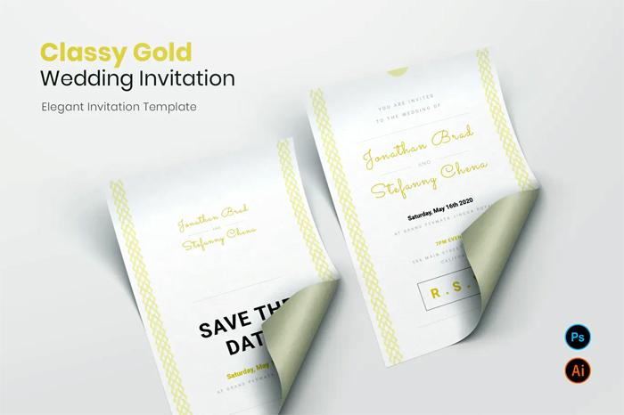 Classy Gold Wedding Invitation