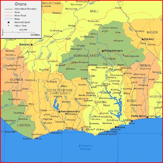 Gambar Peta Ghana