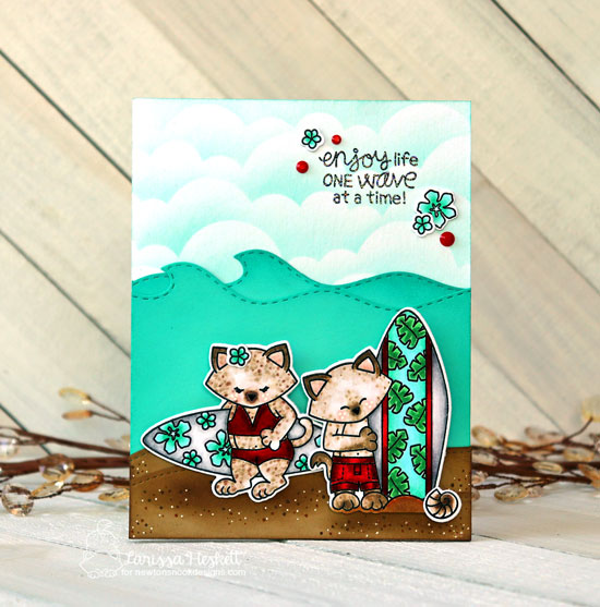 Cats with Surfboards Beach Card by Larissa Heskett | Newton's Perfect Wave Stamp Set, Clouds Edge Stencil, and Land and Sea Borders Die Sets by Newton's Nook Designs #newtonsnook #handmade