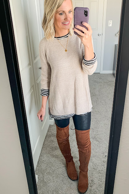 Sweater layered over striped tunic