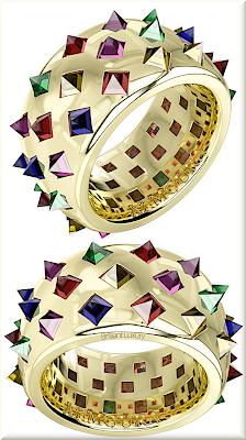 ♦Armoura Fibonacci rings in yellow gold with coloured stones #jewelry #armoura #brilliantluxury