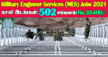 MES Recruitment 2021 502 Supervisor Posts