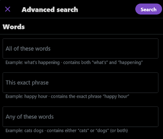 Searching for Words in Twitter Advanced Search