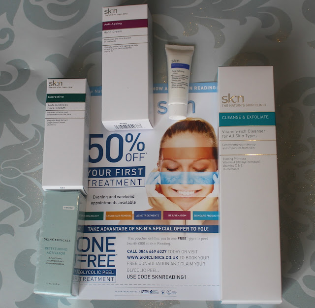 Photograph of Goodie Bag Contents from the Sk:n Clinic
