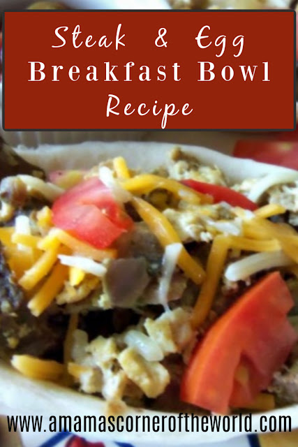 Pinnable image for a recipe for a steak and egg breakfast scramble in soft tortilla bowl