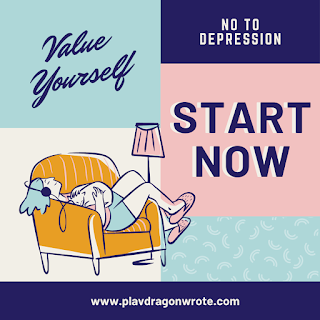 a girl wearing headphone lying on a sofa with a cat No To Depression Value Yourself and Start Now quotes