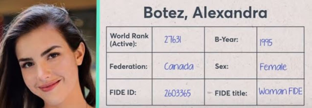 Image of Twitch streamer Alexandra Botez   Image is about her score card World ranking title woman fide