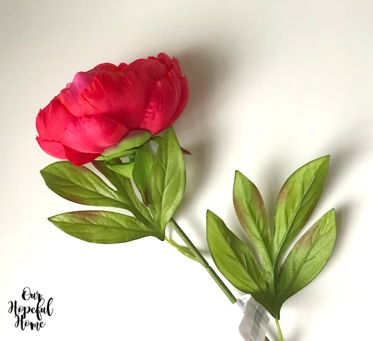 faux red peony