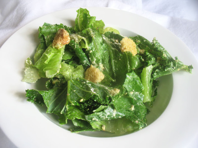 vegan caesar salad with cashew mayo