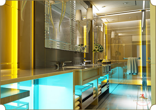 Luxury Bathrooms- Bathed in Teal and Yellow by The First Ferry