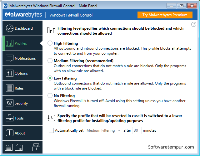 Windows firewall control screenshot profiles