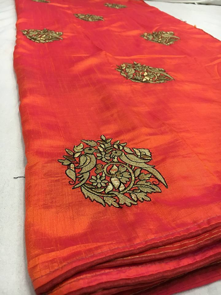 Raw Silk Saree With Parrott Embroidery Design With Running Blouse