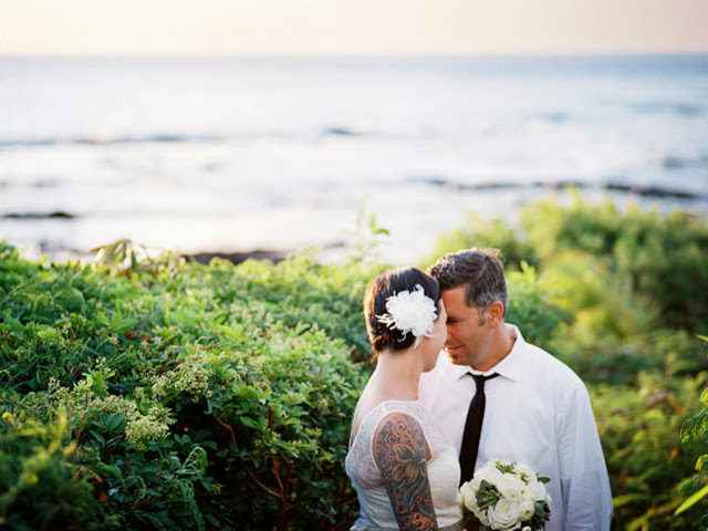 wedding portraits taken in kapalua at merrimans restaurant