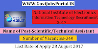 National Institute of Electronics and Information Technology Recruitment 2017– 340 Scientist & Scientific/Technical Assistant