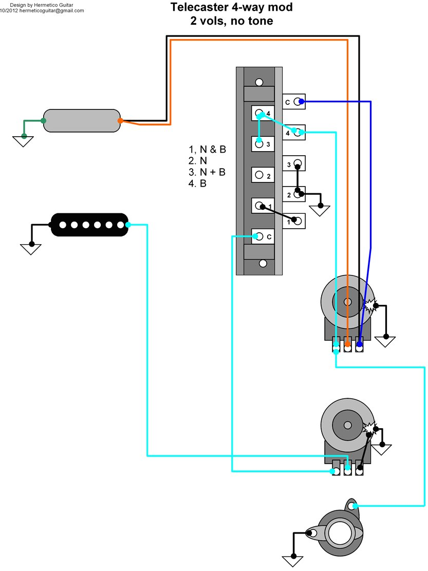 telecaster wiring diagram mods for gas furnace thermostat hermetico guitar tele 4 way mod with two volumes click over the image to see it at full size