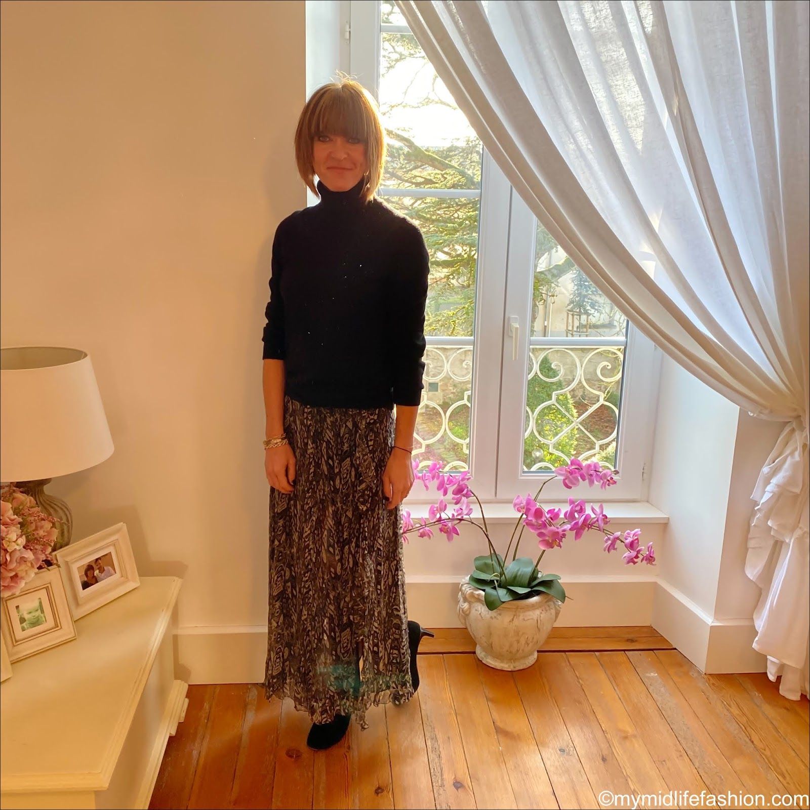 my midlife fashion, Marks and Spencer pure cashmere roll neck jumper, iro Paris split frill detail maxi skirt, Isabel Marant goat suede ankle boots