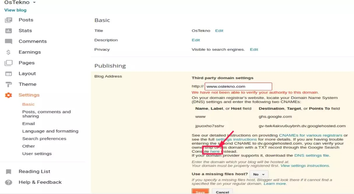 tutorial cara mengatasi gagal verifikasi domain blogger benar