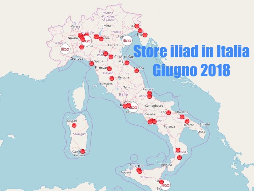mappa degli store iliad in italia