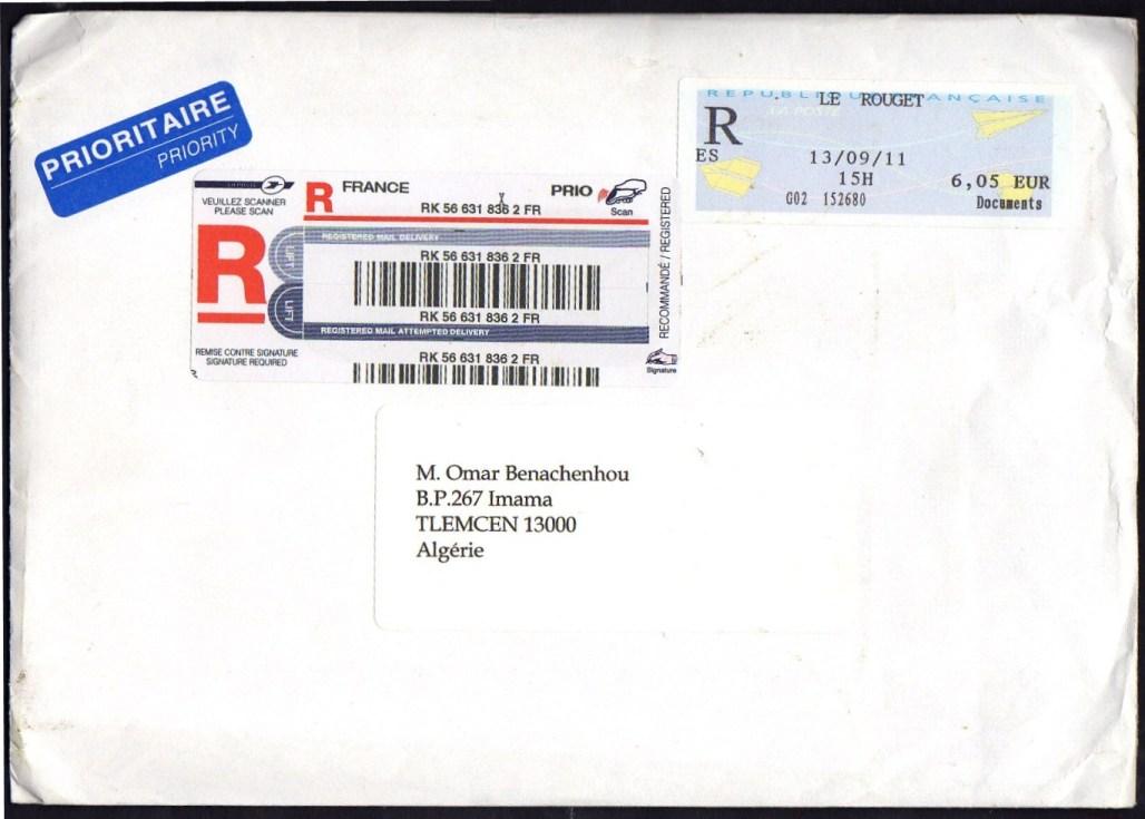 l 39 enveloppe 1er jour plus qu 39 un timbre absence d 39 oblit rations sur un recommand de france. Black Bedroom Furniture Sets. Home Design Ideas
