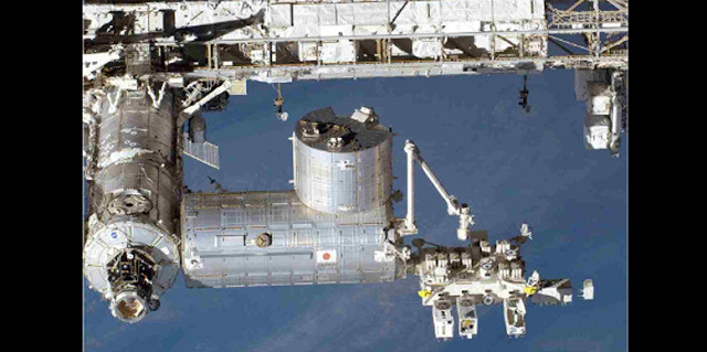 ISS showing the Japanese Experiment Module – External Facility (JEM-EF).Photo Credit: JAXA